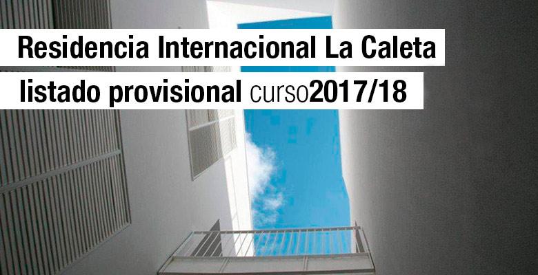 Listado provisional Residencia La Caleta 2017/18